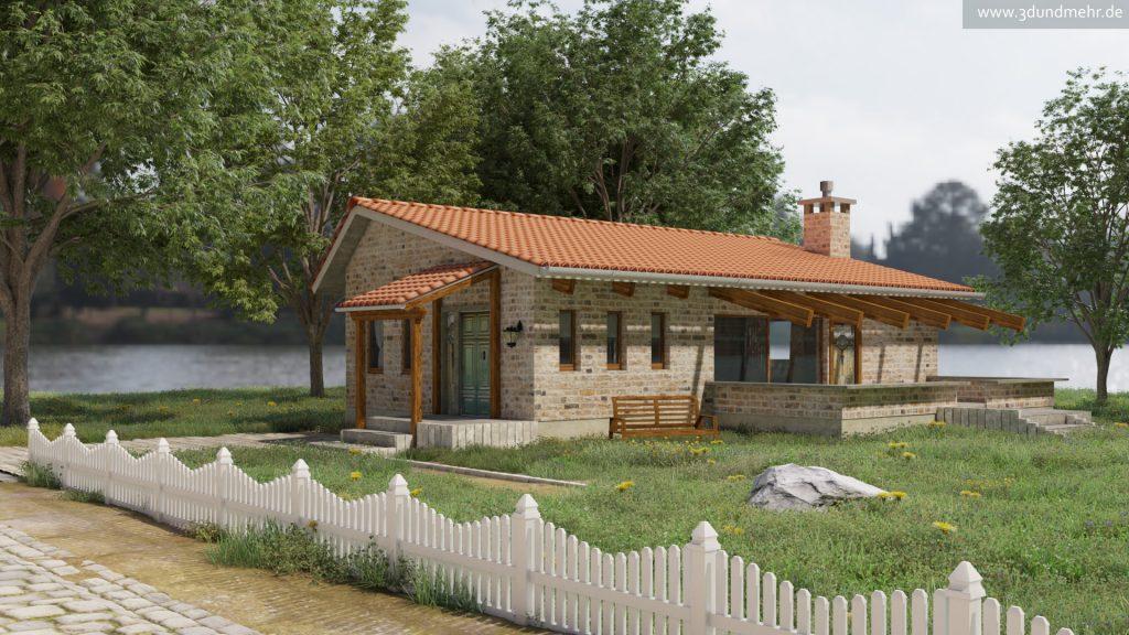 3D Visualisierung Haus am See Seitenansicht