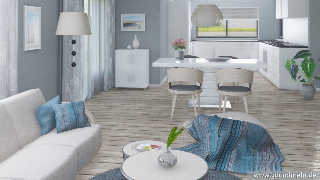 3D Visualisierung Raumdesign Wohn- Esszimmer VRay Rendering